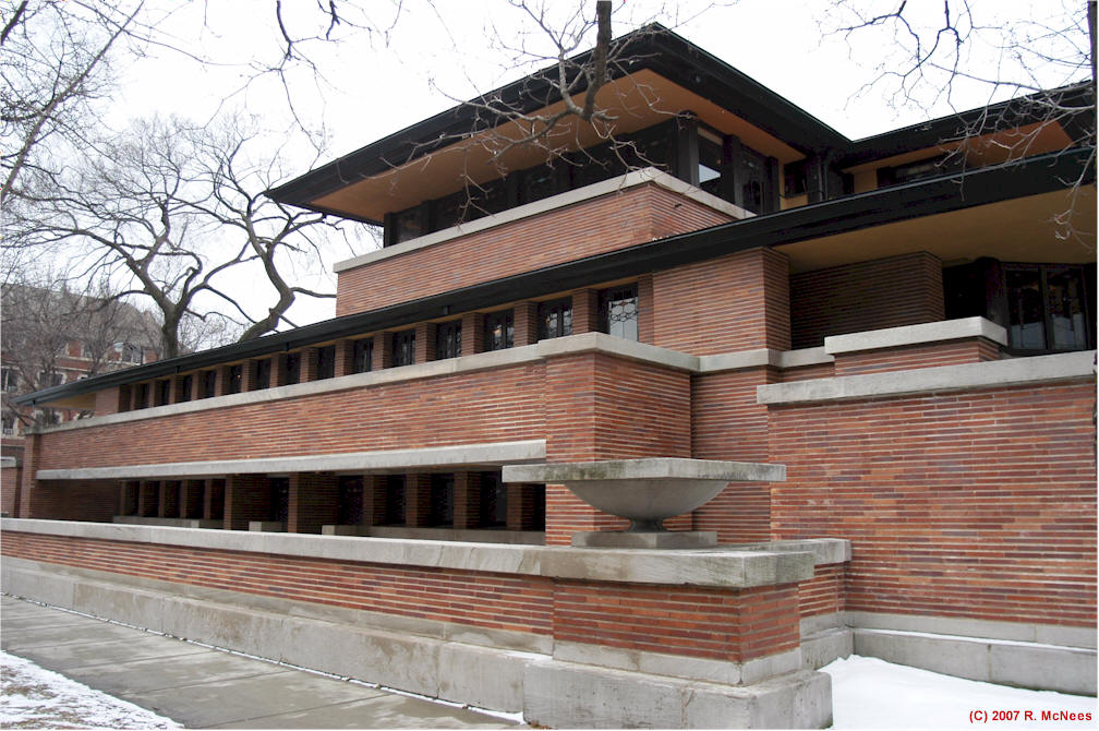 Frank lloyd wright prairie school architecture robie for Architecture wright