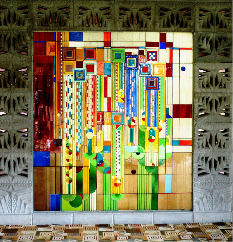 frank lloyd wright prairie school architecture sinpried art glass panel shown on rick mcnees. Black Bedroom Furniture Sets. Home Design Ideas