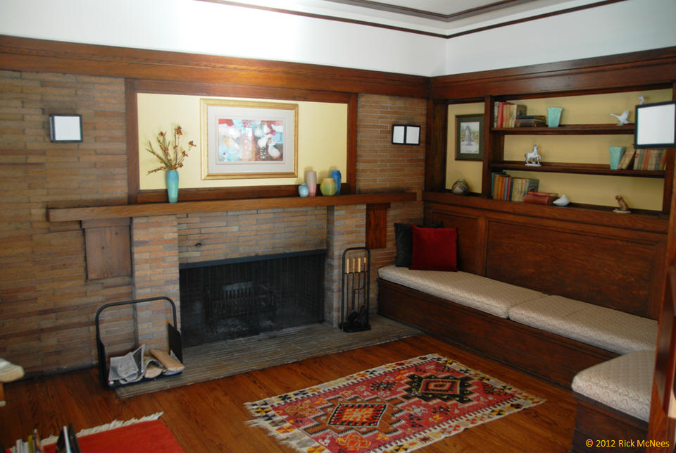 ... William Martin House   Frank Lloyd Wright   Living Room    Fireplace Settee ...