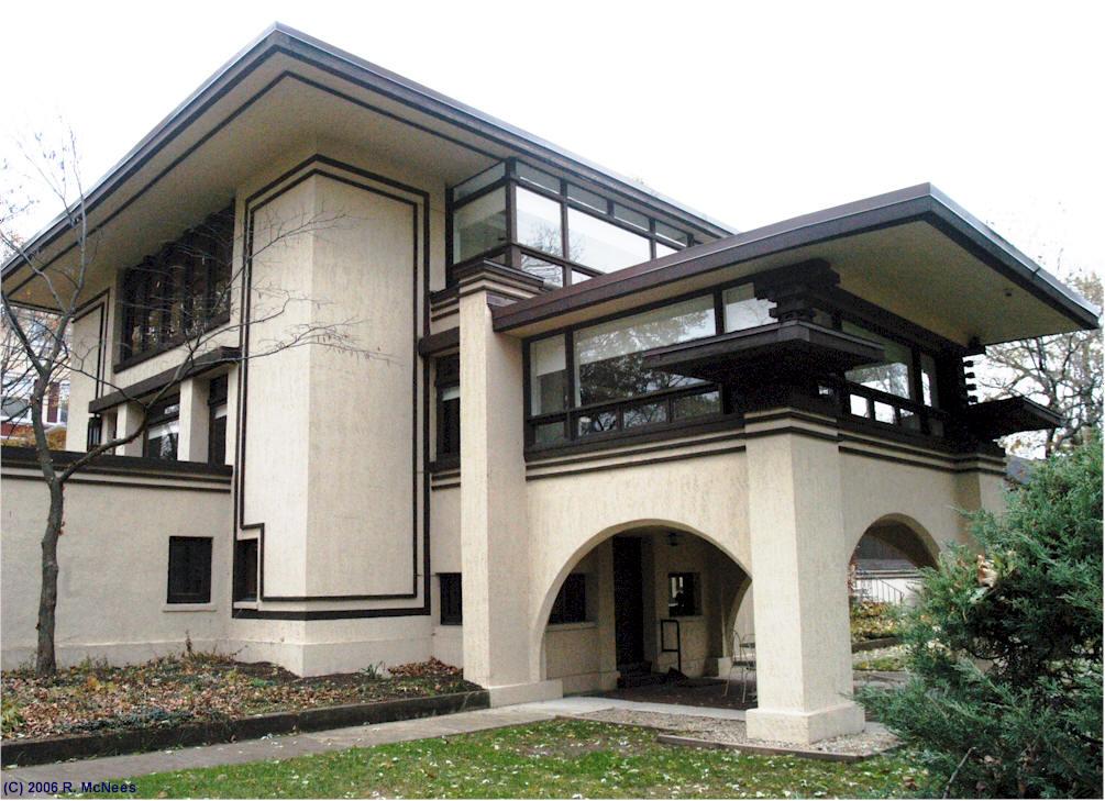 Frank lloyd wright prairie school architecture in hinsdale for Architecture frank lloyd wright