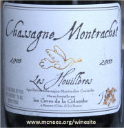 Les Houilleres Chassagne Montrachet 2003 label on McNees.org/winesite