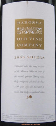 Barossa Old Vine Company Shiraz 2003 Label on McNees WineSite on McNees.org