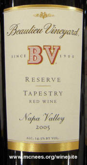 Beaulieu Vineyard Reserve Tapestry 2005 label