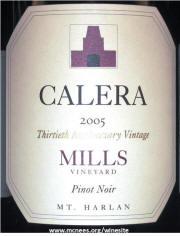 Calera Mills Pinot Noir 2005 Label