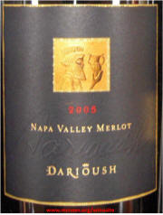 Darioush Napa Valley Merlot 2005 label