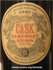 Niebaum Coppola Cask Cabernet Sauvignon 1998 label
