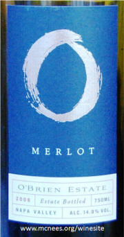 O'Brien Estate Napa Valley Merlot 2006 Label