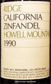 Ridge Howell Mountain Zinfandel 1990 label