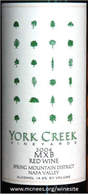 York Creek Vineyards MXB Red Wine 2004 label
