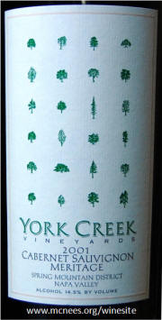 York Creek Spring Mountain Napa Valley Meritage 2001 label