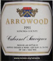 Arrowood Sonoma Cabernet Sauvignon 1991 label
