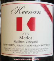 Keenan Winery Napa Valley Spring Mountain Mailbox Merlot Reserve 2005 Magnum label