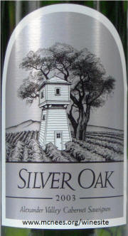 Silver Oak Alexander Valley Cabernet Sauvignon 2003 label