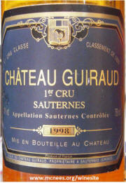 Chateau Guiraud Sauterne 1998 label