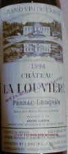 Chateau La Louviere Pessac Leognan Graves 1994 Label