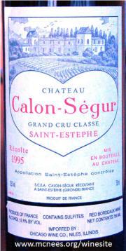 Calon Segur St Estephe 1995 label