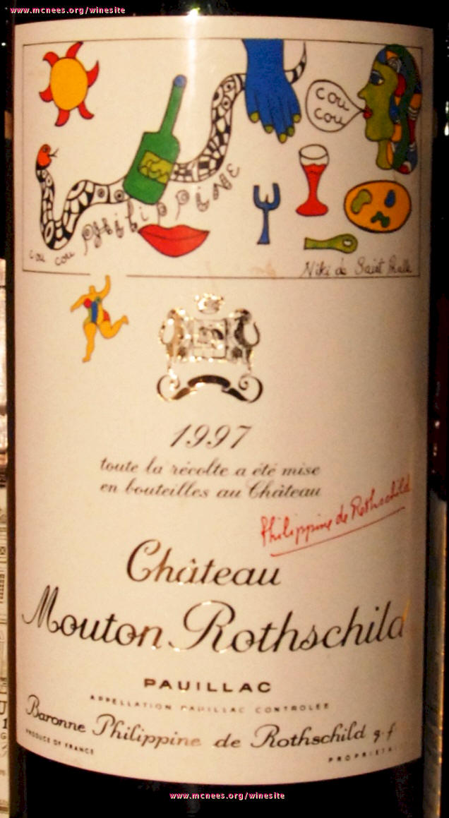 Chateau Mouton Rothschild Label Library on McNees.org/winesite