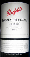 Penfold's Thomas Hyland Shiraz 2005 label