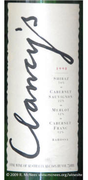 Peter Lehman Clancy's Barossa Red Wine Blend 1998 label