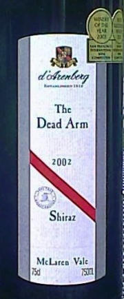 d'Arenberg Dead Arm 2002 Label on McNees.org/winesite
