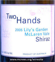 Two Hands Lily's Garden McLaren Vale Shiraz 2005 label