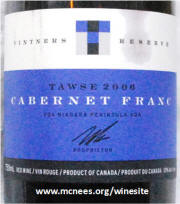 Tawse Winery Vintners Reserve Cabernet Franc 2006 label