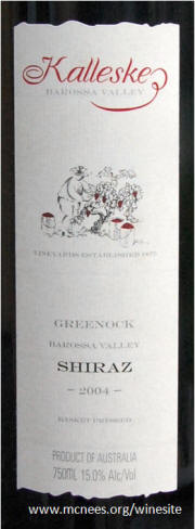 Kalleske Barossa Valley Greenock Shiraz 2004 Label