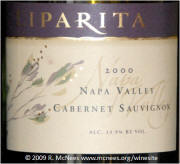 Liparita Napa Valley Cabernet Sauvignon 2000 label