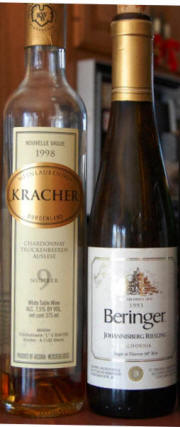 Kracher Chardonnay TBA No. 9 1998 and Beringer Special Select Late Harvest Rieslikng 1993