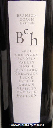 Branson Coach House Greenock Block Shiraz 2004 label