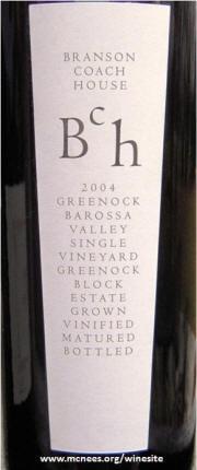 Branson Coach House Greenock Block Shiraz 2004 label