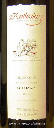 Kalleske Greenock Barossa Valley Shiraz 2005 label