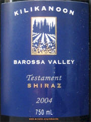Killikanoon Testament Shiraz 2004 Label on McNees WineSite on McNees.org