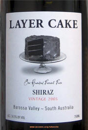 Layer Cake Barossa Shiraz 2005 Label on Rick's Winesite on McNees.org/winesite