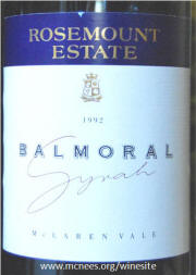 Rosemount Estate Balmoral McLaren Vale Shiraz 1992 label
