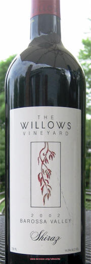 Willows Vineyard Barossa Shiraz 2002 Label on McNees Winesite