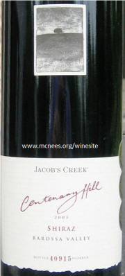 Jacobs Creek Centenary Hill Barossa Shiraz 2003 Label