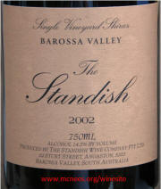 The Standish Barossa Valley Single Vineyard Shiraz 2002 Label