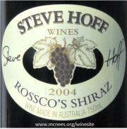 Steve Hoff Rosscoe's Shiraz 2005 Label