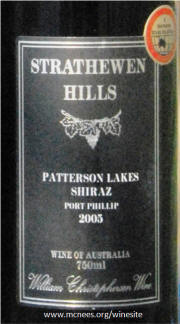 Strathewen Hills Patterson Lakes Port Phillip 2005 Label