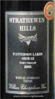 Strathewen Hills Patterson Lakes Port Phillip 2005 Label