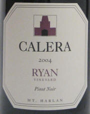 Calera Ryan Vineyard Mount Harlan Pinot Noir 2004 label