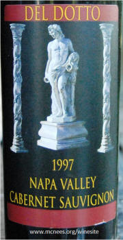 Del Dotto Napa Valley Cabernet Sauvignon 1997 Label