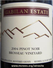 Gabilan Cellars Brosseau Vineyard Pinot Noir 2004 Label