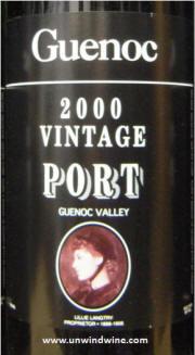Guenoc Guenoc Valley Vintage Port 2000 label