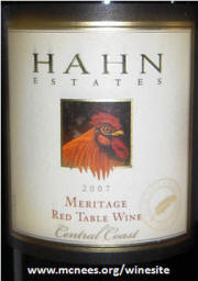 Hahn Meritage 2007 label