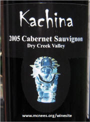 Kachina Sonoma Dry Creek Valley Cabernet Sauvignon 2005 label