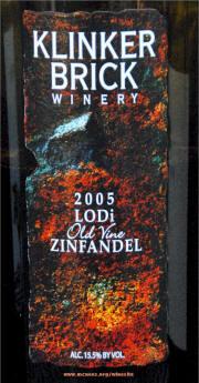 Klinker Brick Winery Old Vine Zinfandel 2005 Label