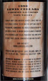 Lewis Cabernet Sauvignon 1998 label rear