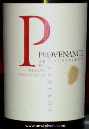 Provenance Vineyards Napa Valley Carneros Merlot 2001